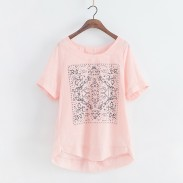 Causal Fresh Solid Geometric Pattern Loose Short-sleeve Linen T-shirt