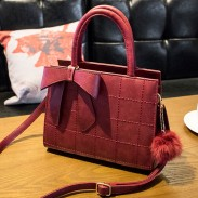 Retro Sewing Thread Grid Bowknot Hairball Shoulder Messenger Bag Handbag
