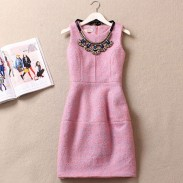 Elegant Beaded Collar Sleeveless Floral Woolen Dress/Party Dress