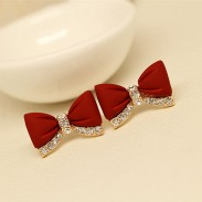 Sweet Bow Rhinestone Stud Earrings Ear Jewelry/Gifts