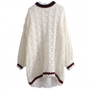 Fashion Hollowed-out Nice Flower Design Sweater Dress Casual Simple Loose Sweater