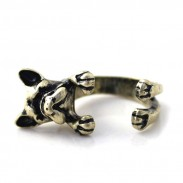 Cute Dog Gold Color Opening Rings