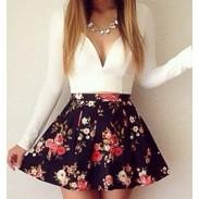 Sexy Deep V Floral Long Sleeve Mini Dress