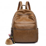 Retro Simple Brown British Style College Soft PU School Bag Student Backpack