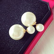 Fashion Pure White Pearl Girl Earring Double Pearl Earring Studs