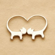 Cute Cat Long Tail Hang Kitty Silver Women Earring Studs Eardrop