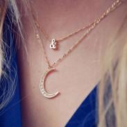 Moon Symbol Pattern Studded Gemstone Necklace