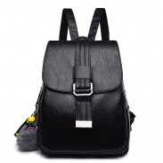 Retro Simple Single Button Soft PU Student Leisure College Backpack