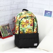 Leisure Floral Flower Pattern Mixed Color Vertical Zipper Canvas School Computer Backpack