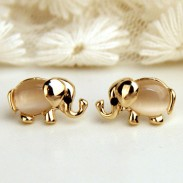 Cute Baby Elephant Animal Pearl Ear Studs