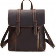 Retro Simple Thick Leather British Style Double Buckle Handmade Large School Backpack