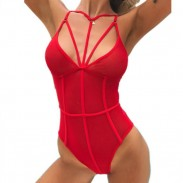 Sexy Mesh Conjoined Bikinis Red Perspective Intimate Lingerie