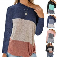 Leisure Bat Sleeve Round Neck Loose Stripe Contrast Color T-Shirt Twisted Tops
