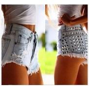 Summer Sexy Ripped High Waist Denim Shorts Jeans  Plus Size Hot Rivet Wonmen Shorts