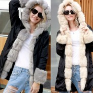 Punk Fluff Warm Long Hooded Collar Fur Long Sleeve Cardigan Women Coat