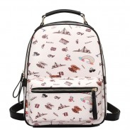 Sweet Cartoon PU Tower Bridge Rainbow Students Schoolbag Zipper Backpack
