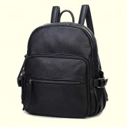 Motorcycle Style Solid Zipper Black School Bag Travel Backpack