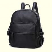 Motorcycle Style Solid Zipper Black School Bag Travel Backpack