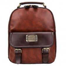 Retro Imitation leather Grain Bag Vintage Travel PU School Backpack