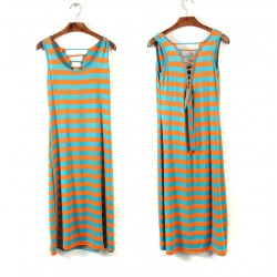 Fashion Backless Straps Rainbow Striped Vest Long Skirt