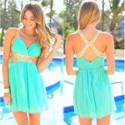 Mint Green Deep V Sequins Cross Chiffon Beach Dress