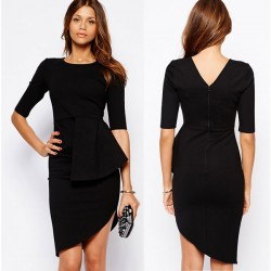 Unique Irregular Layers Black Dresses