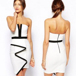 Bodycon Irregular Sleeveless White Party Dress