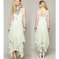 Sexy Irregular Backless Long Lace Dress