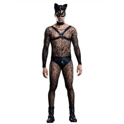 Sexy Cat Man Costume Bodystocking Clubwear Cosplay Lingerie Harness Panties Choker Mask Tail 6 Pcs Lingerie