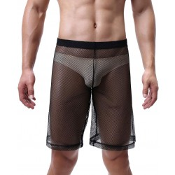 Sexy Loose Boxer Briefs Sheer Mesh Underpants Trunks See Through High Waist Shorts Men's Lingerie