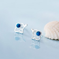 Cute Fresh Elephant Hollow Blue Gem Silver Girl's Earrings Studs