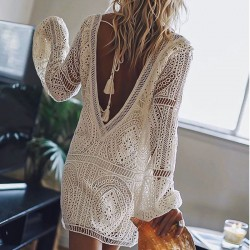 Leisure Loose Hollow Lace Deep V Summer Long Sleeve Backless Beach Dress