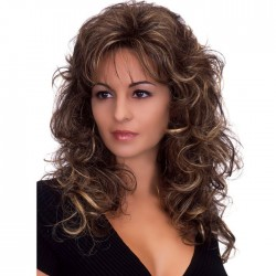 Elegant Wig for Women Brown Long Fluffy Curls Wavy Hair Wig
