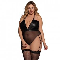 Sexy Mesh Stitching Socks Patent Leather Perspective Teddy Bodysuit Women's Lingerie