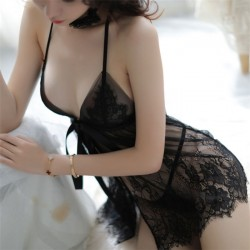 Sexy Lace Slit Bow Perspective Mesh Nightdress Sling Lace Pajamas Women's Lingerie