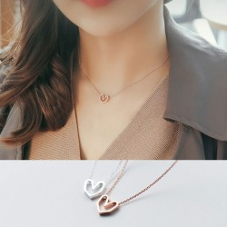 Romantic Hollow Love Heart Pendant Necklace Couple Jewelry Gift For Her Silver Necklace