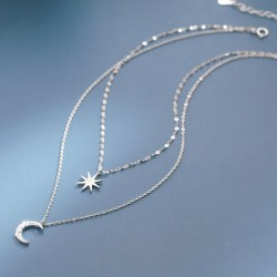 Unique Eight-pointed Star Moon Double Layer Crystal Women Silver Necklace