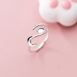 Cute Kitten Engagement Finger Jewelry Gifts For Her Animal Silver Ring Lying Down Cat Open Toe Rings