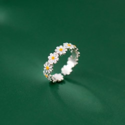Sweet Summer Flower Splice Silver Ring Engagement Finger Jewelry Gifts For Her Sunflower Ring