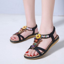 Retro Bohemia Beaded Holiday Beach Flats Summer Shoes Women's Sandals