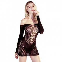 Sexy Long Sleeves Nightgown Chemise See-through Black Mesh Off-shoulder Lace Pajamas Hollow Lingerie
