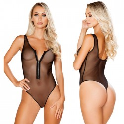 Sexy One-piece Zipper Perspective Underwear Black Mesh Conjoined Women's Lingerie