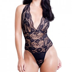 Sexy Perspective Lace Hollow Halter Band Teddy Bodysuit Underwear Women's Lingerie
