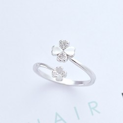 Fresh Four-leaf Clover Flower Ring Leaves Silver Opening Ring