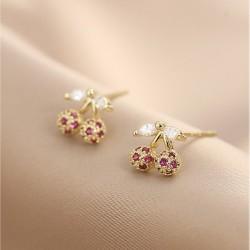 Cute Crystal Leaf Cherry Flower 18K Gold Plated Women's Earring Studs