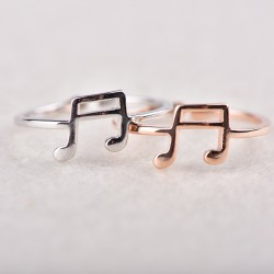 Cute Adjustable Music Note Ring for Music Lovers Gift Musical Clef Open Silver Women's Ring