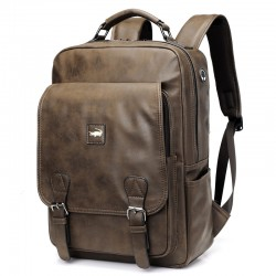 Retro Crocodile Youth Travel Large-capacity Student Backpack Laptop Backpack Business Double Buckle Men's School Bag