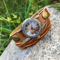 Retro Handmade Rivet Weave Bracelet Watch