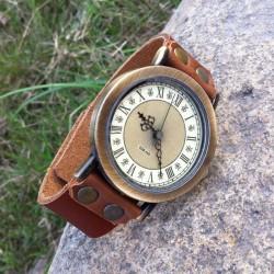 Cinnamon Retro Handmade Cowhide Leaather Roman Numerals Man Watch