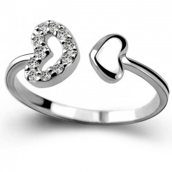 Romantic Lover Ring Double Heart Couple Silver Zircon Open Ring